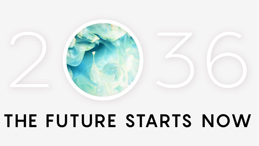 A gray background with stylized text over it that says 2036 The Future Starts Now