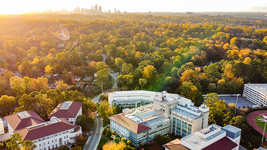 An aerial view of Emory University in the fall