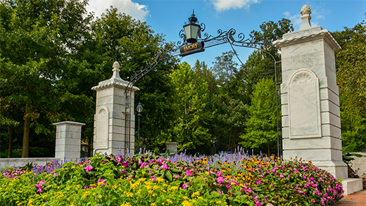 Photo of Emory University gate with flowers